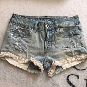 Short shorts with lace detailing